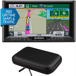 "nuvi 67LMT 6"" Essential Series 2015 GPS with Lifetime Maps & Traffic Case Bundle"