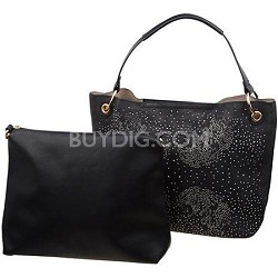 Glittery Rhinestone Handbag with Travel Tote in Black