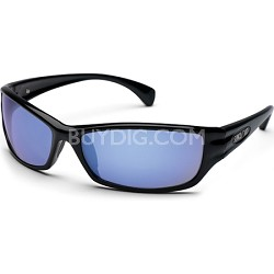 Hook Sunglasses Black Frame/Blue Mirror Polarized Lens