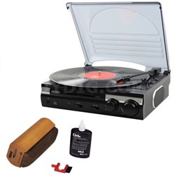 JTA-230 3-Speed Stereo Turntable with Built-in Speakers and Speed Adjustment Wit