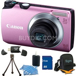 PowerShot A3300 IS 16MP Pink Digital Camera 8GB Bundle