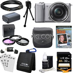 a5000 Compact Interchangeable Lens Camera Silver w/ 16-50mm Lens Ultimate Bundle