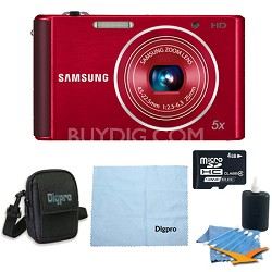 4 GB Bundle - ST76 16 MP 5X Compact Digital Camera - Red