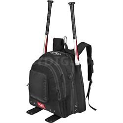 BKPK-B Bomber Team Backpack w/ Side Bat Sleeves, External Pocket - Black