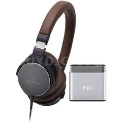 SR5 On-Ear Hi-Res Headphones w/ FiiO A1 Headphone Amplifier, Navy/Brown