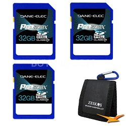 Pro200X 32GB SDHC Class 10 Memory Card 3-Pack Bundle Deal