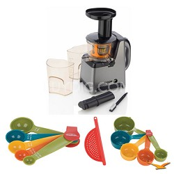 Platino Slow Juicer, Cutting Board, and Measuring Sets Bundle