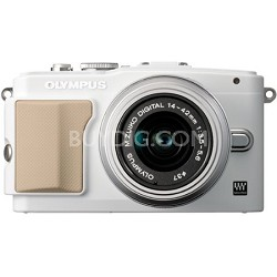 E-PL5 Mirrorless 16MP Digital Camera with FL-LM1 Flash and 14-42mm Lens (White)