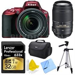 D5500 Red DSLR Camera 18-140mm Lens, 55-300 Lens, 32GB, and Cleaner Bundle