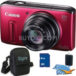 PowerShot SX260 HS Red Digital Camera 4GB Bundle
