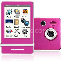 """E4 Series - 3"""" Touch Screen MP3 Video Players 8GB w/ Digital Camera (Pink)"""