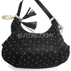 Quilted Hobo with Micro Stud and Tassel in Black - YK1034-CM