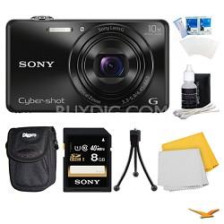 DSC-WX220 Black Digital Camera, 8GB Card, and Case Bundle