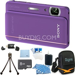 "Cyber-shot DSC-TX66 18.2 MP CMOS Camera 5X Zoom 3.3"" OLED Violet 8 GB Memory Kit"