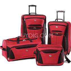 Fieldbrook II Four-Piece Luggage Set (Red/Black)