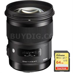 50mm f/1.4 DG HSM Lens for Canon EF Cameras w/ Lexar 64GB Class 10 Memory Card