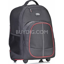 "Compact Rolling Backpack for Laptops up to 16"" - Black/Red"