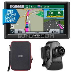 "nuvi 68LMT 6"" Essential Series 2015 GPS w Maps/Traffic Vent Mount & Case Bundle"