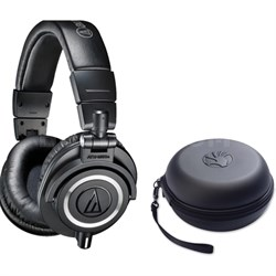 ATH-M50X Professional Studio Black Headphones w/ Slappa HardBody Headphone Case
