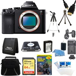 Alpha 7R a7R Digital Camera 64 GB SDXC Card, Battery, and Tripod Bundle