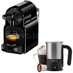 Inissia Espresso Maker Black D40-US-BK-NE w/ Aroma Stainless Steel Milk Frother