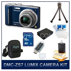 DMC-ZS7A LUMIX 12.1 MP Digital Camera (Blue), 16GB SD Card, and Camera Case