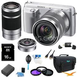 NEX-F3K Digital Camera built in flash with 18-55, 16 f2.8, 55-210 Lenses(Silver)