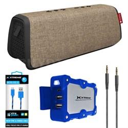 Style XL Port. Waterproof B.tooth Speaker Sand/Black w/Power Bank Charger Bundle