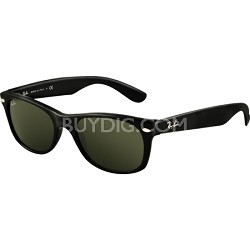 New Wayfarer Sunglasses - Black Frames/Green Lens 52mm
