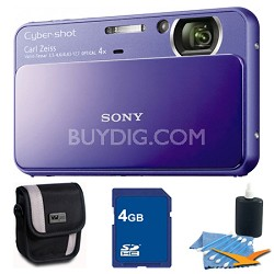 Cyber-shot DSC-T110 Purple Touchscreen Digital Camera 4GB Bundle