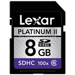 Platinum II 8 GB 100x SD/SDHC Flash Memory Card LSD8GBBSBNA100
