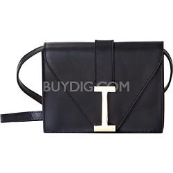 """""""I"""" Clutch Camera Clutch in Genuine Leather - Black"""