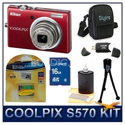 COOLPIX S570 12MP Digital Camera (Red) w/ 16 GB Memory Kit