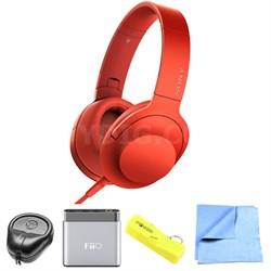 Premium Hi-Res On-Ear Stereo Headphone Red - MDR100AAP/R w/ FiiO A1 Amp. Bundle