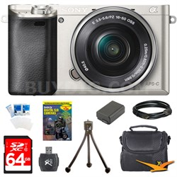 Alpha a6000 24.3MP Silver Interchangeable Lens Camera w/ 16-50mm Zoom 64GB Kit