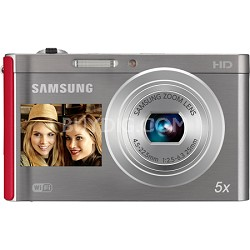 DV300F 16 MP 5X Wi-Fi Dual View Digital Camera - Silver/Red