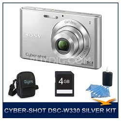 Cyber-shot DSC-W330 14MP Silver Digital Camera With 4GB Card, Case, and More