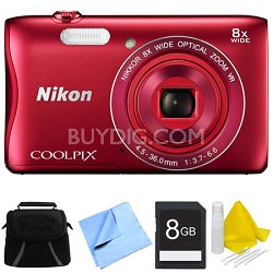 COOLPIX S3700 20.1MP 720p HD Video Digital Camera - Red Bundle