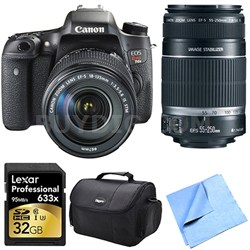 EOS Rebel T6s DSLR Camera Body with 18-135mm and 55-250mm Lens 32 GB Bundle