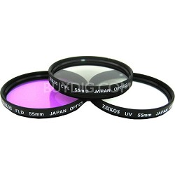 55mm UV, Polarizer & FLD Deluxe Filter kit (set of 3 + carrying case)