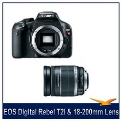 EOS Digital Rebel T2i SLR Camera Body With Canon 18-200 IS Lens
