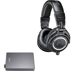 ATH-M50X Professional Studio Headphones (Black) + Fiio A5 Portable Amplifier