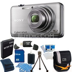 Cyber-shot DSC-WX9 Silver Digital Camera 16GB Bundle