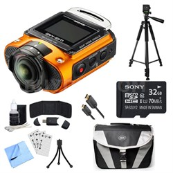 WG-M2 4K Action Orange Camera, 32GB Card, Cable, Tripod, and Accessory Bundle