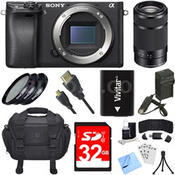 ILCE-6300 a6300 4K Mirrorless Digital Camera Body 55-210mm Zoom Lens Bundle