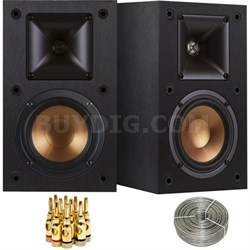 R-14M Reference Bookshelf Monitor Speakers w/ 100ft Speaker Wire + Banana Plugs