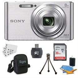 DSC-W830 Cyber-shot Silver Digital Camera 16GB Bundle