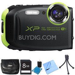 FinePix XP80 16MP Waterproof Digital Camera Graphite Black 8GB Bundle