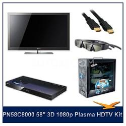 "PN58C8000 - 58"" 3D 1080p Plasma HDTV Kit w/ 4 3D Glasses and Blu-Ray Player"