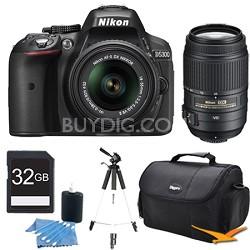 D5300 DX-Format Digital SLR Kit (Black) w/ 18-55mm DX & 55-300mm VR Lens Bundle